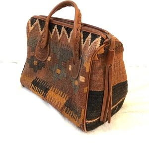 Vintage Bohemian Leather Kilim Carpet Purse Bag